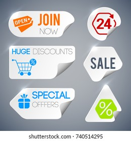 Sale and shopping labels set with special offer symbols on grey background paper style isolated vector illustration