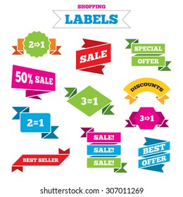 Sale shopping labels. Special offer icons. Take two pay for one sign symbols. Profit at saving. Best special offer. Vector