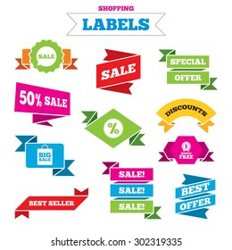 Sale shopping labels. Sale speech bubble icon. Discount star symbol. Big sale shopping bag sign. First month free medal. Best special offer. Vector