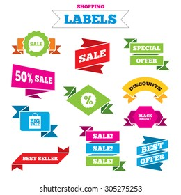 Sale shopping labels. Sale speech bubble icon. Discount star symbol. Black friday sign. Big sale shopping bag. Best special offer. Vector