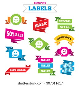 Sale shopping labels. Speech bubble smile face icons. Happy, sad, cry signs. Happy smiley chat symbol. Sadness depression and crying signs. Best special offer. Vector
