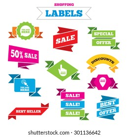 Sale shopping labels. You are here icons. Info speech bubble symbol. Map pointer with your location sign. Hand cursor. Best special offer. Vector