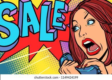 Sale, shopping season. Woman screams in phone. Comic cartoon pop art retro vector drawing
