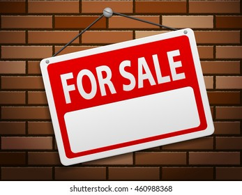 For sale sign board on brick background.