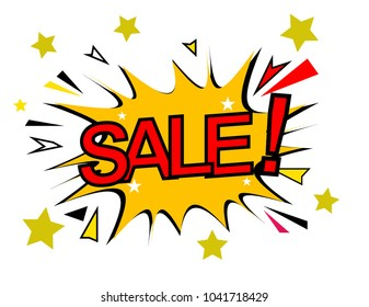 sale, sign with comic cloud or bubble