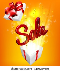 A sale sign flying out of a gift box with orange and yellow background