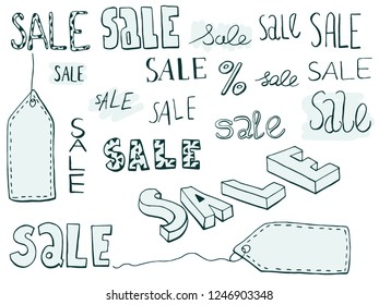Sale sign icon, lettering. Hand drawn sketch.