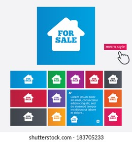 For sale sign icon. Real estate selling. Metro style buttons. Modern interface website buttons with hand cursor pointer. Vector