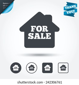 For sale sign icon. Real estate selling. Circle and square buttons. Flat design set. Thank you ribbon. Vector