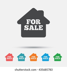 For sale sign icon. Real estate selling. Graphic element on white background. Colour clean flat for sale icons. Vector
