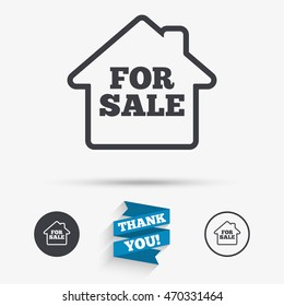 For sale sign icon. Real estate selling. Flat icons. Buttons with icons. Thank you ribbon. Vector
