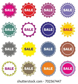 Sale sign icon. Special offer label. Sale Stars stickers. Certificate emblem labels. Vector