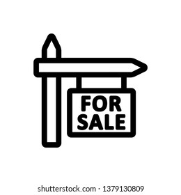For Sale Sign Line Icon