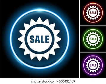 Sale Sign on Glow Round Button
