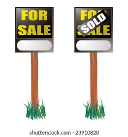 For sale sign with sold label placed on top with grass