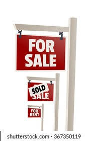 For sale sign. Sold sign, For rent sign