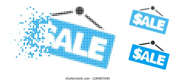 Sale signboard icon in dispersed, dotted halftone and solid variants. Elements are arranged into vector disappearing sale signboard figure. Disappearing effect involves rectangle particles.