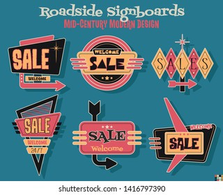 Sale Signboards Mid Century Modern Design Style 1950s American Roadside Billboards