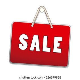 Sale signs hanging with rope isolated on white background. vector illustration