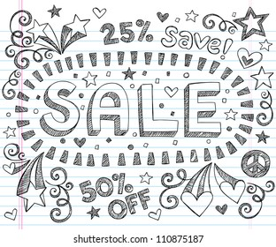 Sale Sketchy Notebook Doodles Discount 50 Percent Off Shopping Hand-Drawn Illustration Design Elements on Lined Sketchbook Paper Background