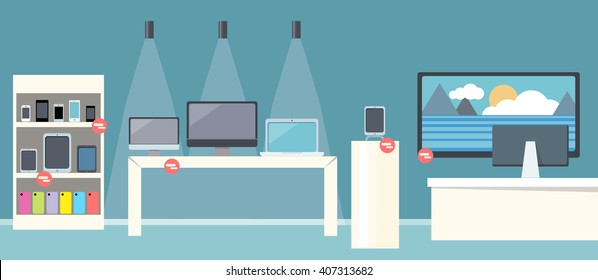 Sale of smartphone design flat store. Sale phone mobile, digital display smarphone device, technology buy, consumerism and store of computer, laptop, screen electronic gadget vector illustration