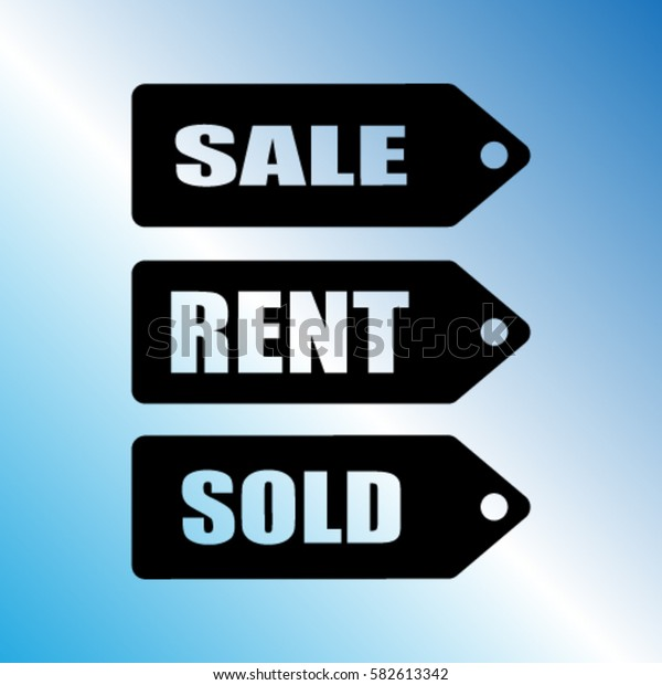 Sale, sold, rent signs vector icon