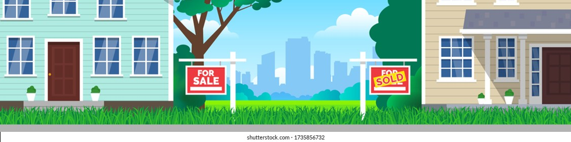 for sale and sold signs on lawn grass in front of  houses real estate investment concept vector illustration