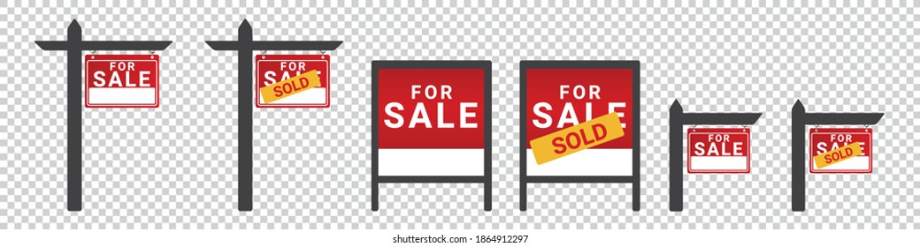 For Sale, Sold Wooden Posts - Different Vector Illustrations - Isolated On Transparent Background