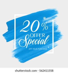 Sale special offer 20% off sign over art brush acrylic stroke paint abstract texture background vector illustration. Perfect watercolor design for a shop and sale banners.