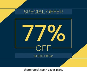 Sale special offer 77% off sign, 77 percent Discount sale minimal banner vector illustration