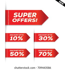 Sale and special offer banner, Sales tags, Vector illustration.