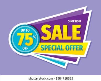 Sale special offer - concept badge vector illustration. Discount up to 75% off creative banner. Sticker emblem. Graphic design poster.