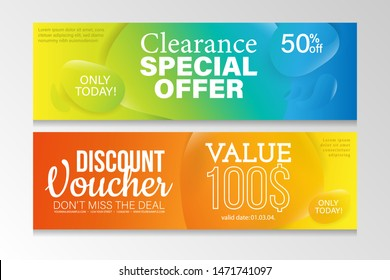 Sale, special offer and discount horizontal banner with modern liquid background.