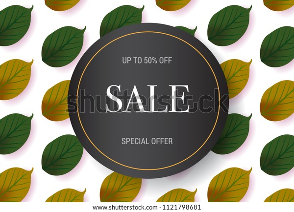 Sale, special offer lettering with leaves pattern. Autumn offer or sale advertising design. Typed text, calligraphy. For leaflets, brochures, invitations, posters or banners.