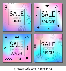 Sale and special offer modern banners set in the Memphis style with bright colors Vector illustration. 80s - 90s