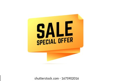 Sale special offer origami speech bubble. Vector illustration for shop special offers and sales.