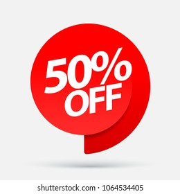 Sale of special offers. Discount with the price is 50%. An ad with a red tag for an advertising campaign at retail on the day of purchase. vector illustration