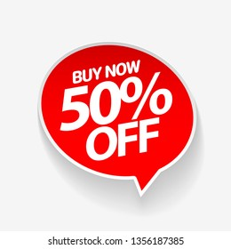Sale of special offers. Discount with the price is 50. An ad with a red tag for an advertising campaign at retail on the day of purchase. vector illustration
