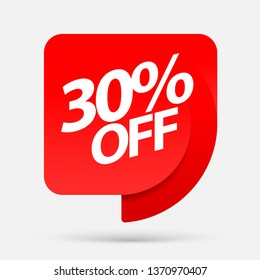 Sale of special offers. Discount with the price is 30 . An ad with a red tag for an advertising campaign at retail on the day of purchase. vector illustration