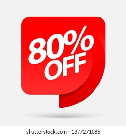 Sale of special offers. Discount with the price is 80 . An ad with a red tag for an advertising campaign at retail on the day of purchase. vector illustration