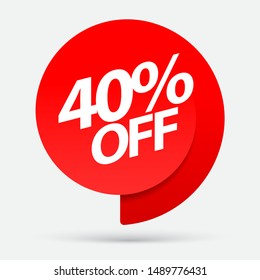 Sale of special offers. Discount with the price is 40 . An ad with a red tag for an advertising campaign at retail on the day of purchase. vector illustration