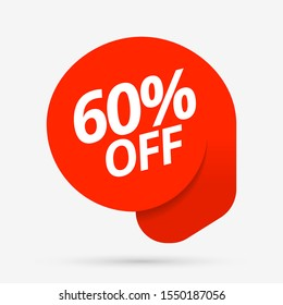 Sale of special offers. Discount with the price is 60. An ad with a red tag for an advertising campaign at retail on the day of purchase. vector illustration. EPS 10