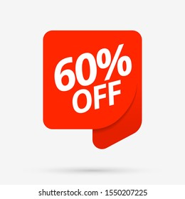 Sale of special offers. Discount with the price is 60 . An ad with a red tag for an advertising campaign at retail on the day of purchase. vector illustration. EPS 10