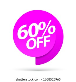 Sale of special offers. Discount with the price is 60. An ad with a magenta tag for an advertising campaign at retail on the day of purchase. vector illustration