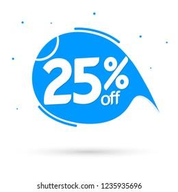 Sale speech bubble banner design template, discount 25% off tag, vector illustration