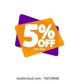 Sale speech bubble banner, discount tag 5% off, element design template, app icon, vector illustration