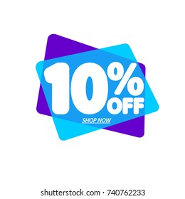 Sale speech bubble banner, discount tag 10% off, element design template, app icon, vector illustration