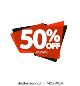 Sale speech bubble banner, discount tag 50 percent  off, element design template, app icon, vector illustration