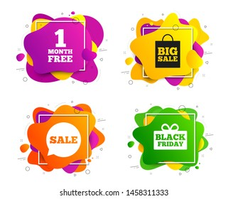 Sale speech bubble icon. Banner shape, various colors. Black friday gift box symbol. Big sale shopping bag. First month free sign. Geometric vector banner. Gradient liquid shape badge. Vector