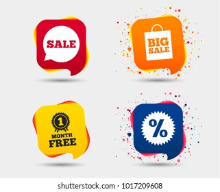 Sale speech bubble icon. Discount star symbol. Big sale shopping bag sign. First month free medal. Speech bubbles or chat symbols. Colored elements. Vector